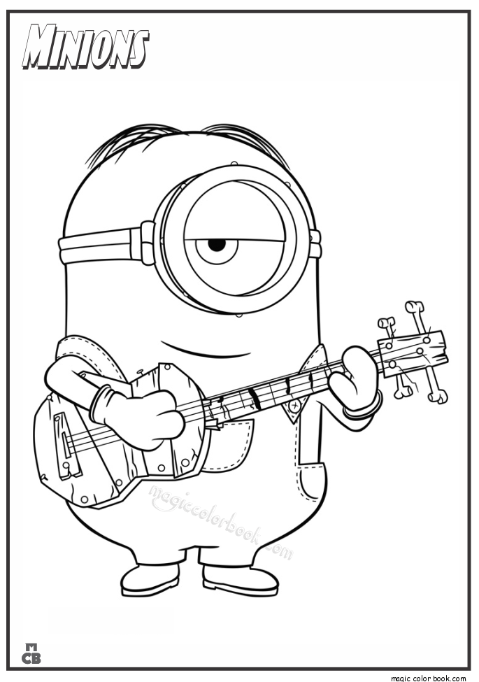 minion with guitar coloring pages