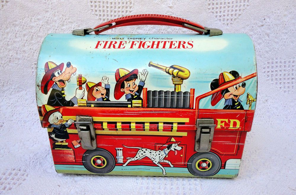 Vintage Walt Disney Character Fire Fighters Metal Dome Lunchbox Mickey Mouse