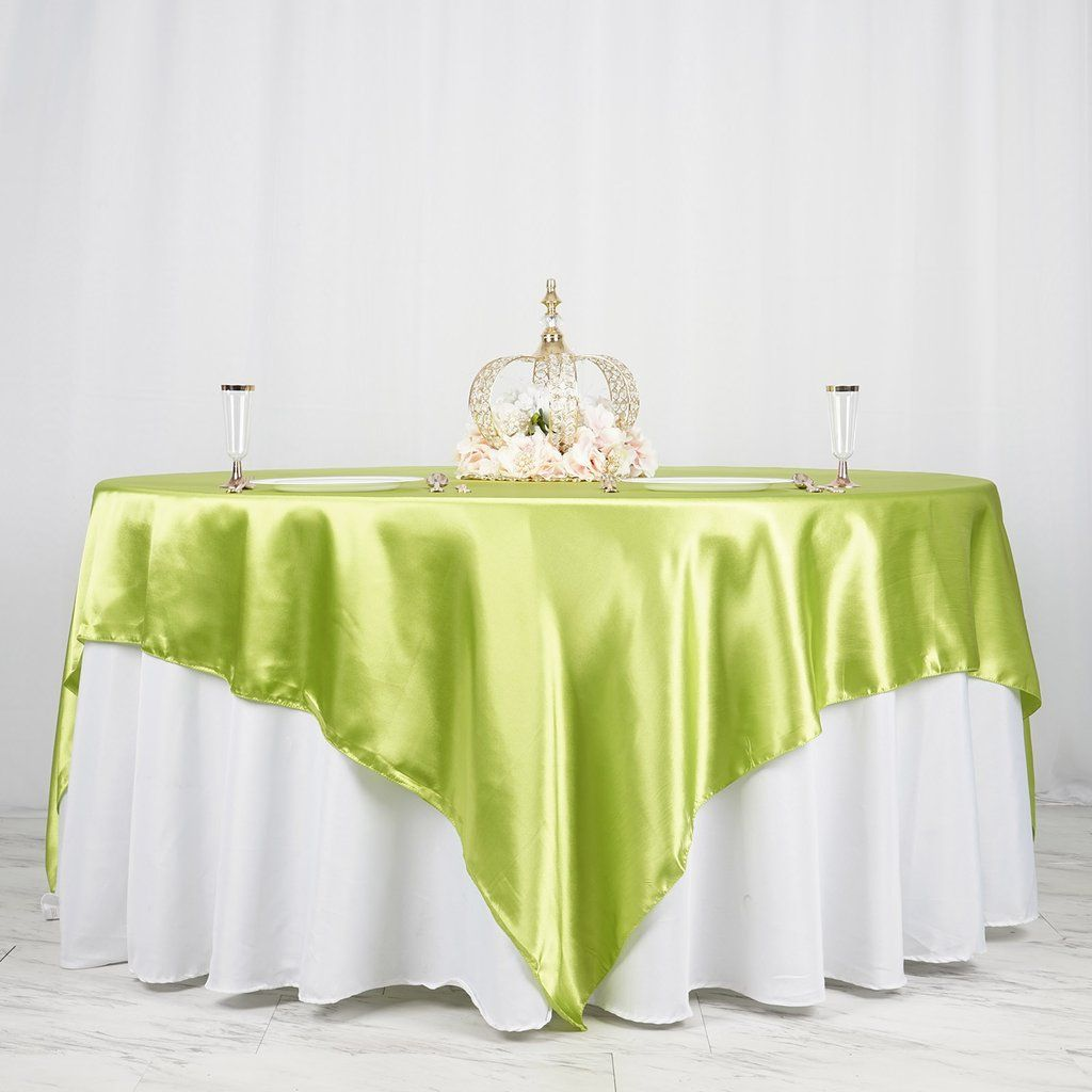 90 Sage Green Satin Overlay Seamless Square Table Overlays Table Overlays Wedding Table Overlays Table Covers Wedding