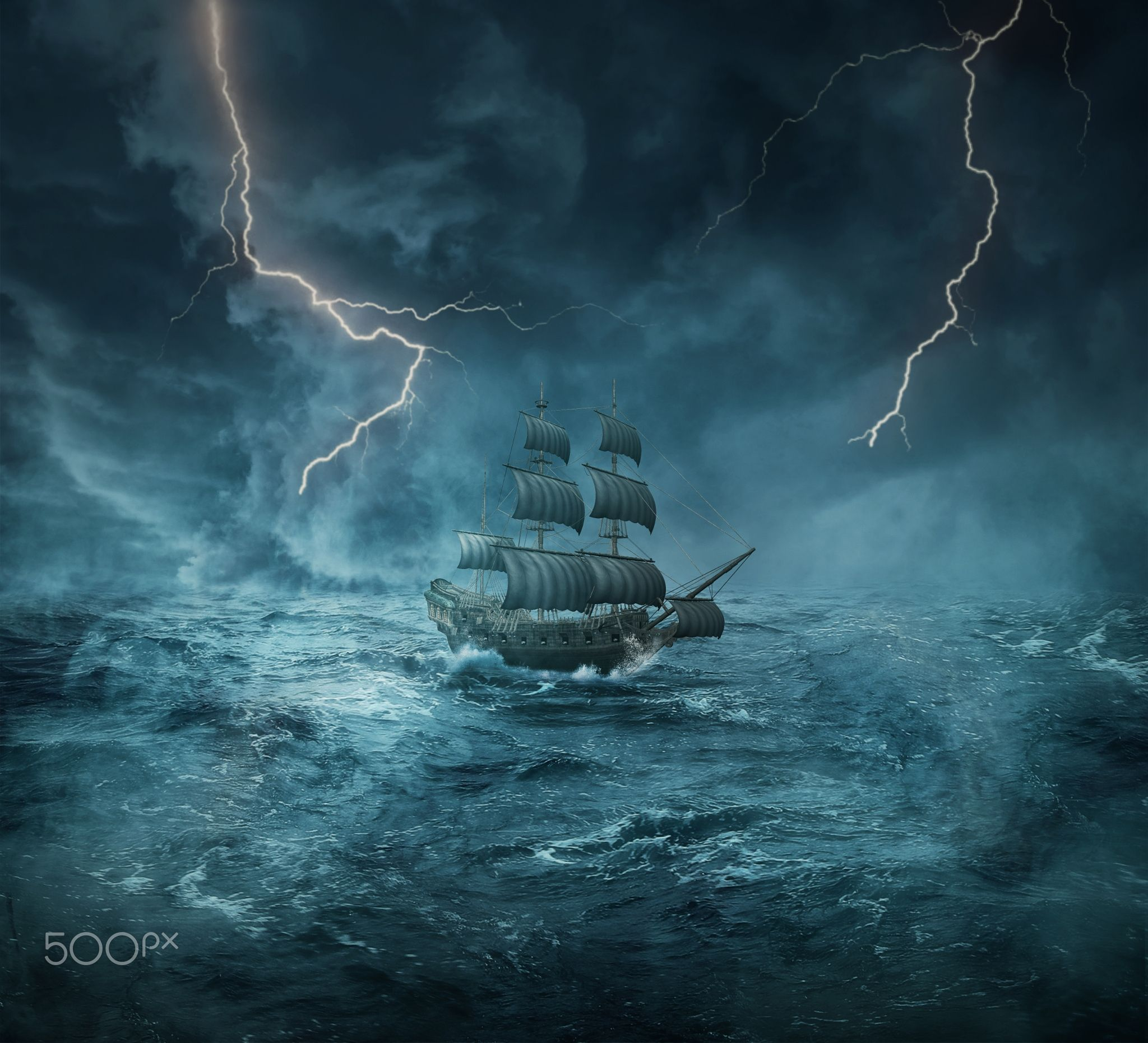 Fantasy ship cliff jolly roger pirate ship rock lightning wallpaper - Ghost Ship Vintage Old Ship Sailing Lost In The Ocean In A Stormy Night Ghost Shipjolly Rogerin The Oceanlightningsailingcaribbeanghostspiratesart