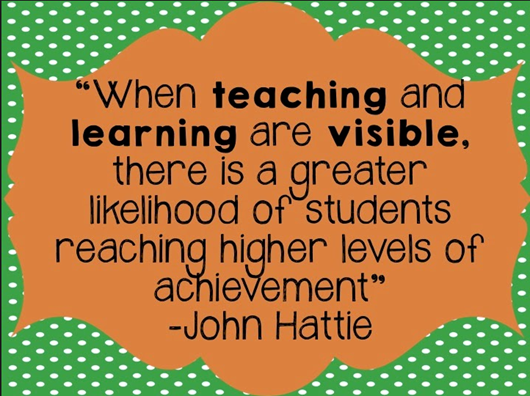 picture of a John Hattie quote on making learning visible ...