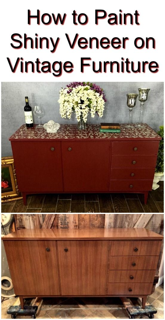 Painted Cranberry Credenza With Fl