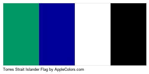 Blue Torres Islander Country Strait Green Flag Flags Black White #009966 #000099 #ffffff #000000