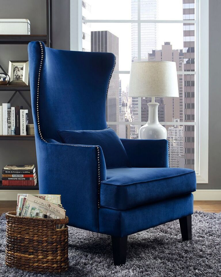 Accent Chair Blue Lounge Chairs For Outside Crystal High Back In 2019 Interior Decorating Emfurn 5