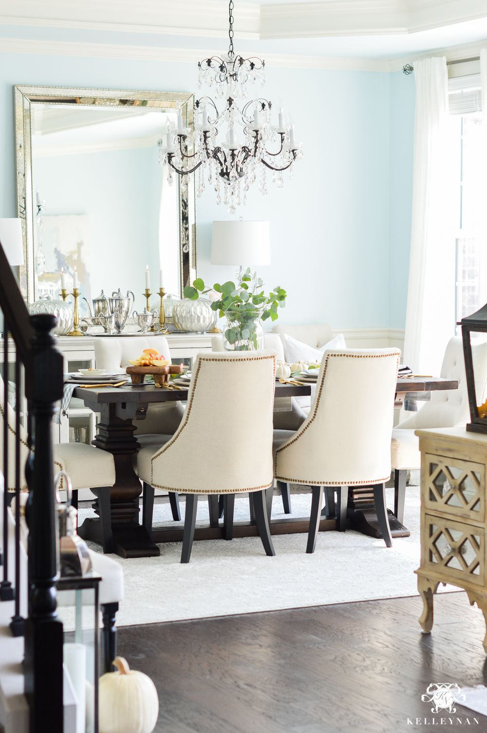 2017 Fall Home Tour Yellow Dining Room Dining Room Blue