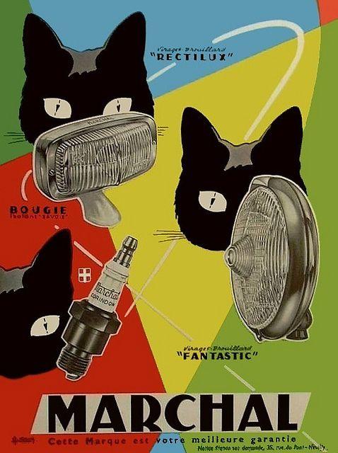 (1950-1960) - En 1923, avec quelques amis, Pierre Marchal fonde «La Société pour la Fabrication de Projecteurs et Lanternes Electriques» dont l'usine s'installe à Pantin. Entrant un soir dans son garage, il aperçoit sur le rayon de ses phares, les yeux de son chat noir luisant dans l'ombre. C'est ainsi que lui vint l'idée de s'inspirer de cette vision pour créer son logo ainsi que son slogan: le célèbre masque de chat au regard phosphorescent avec pour slogan: «Je ne prête mes yeux qu'à…