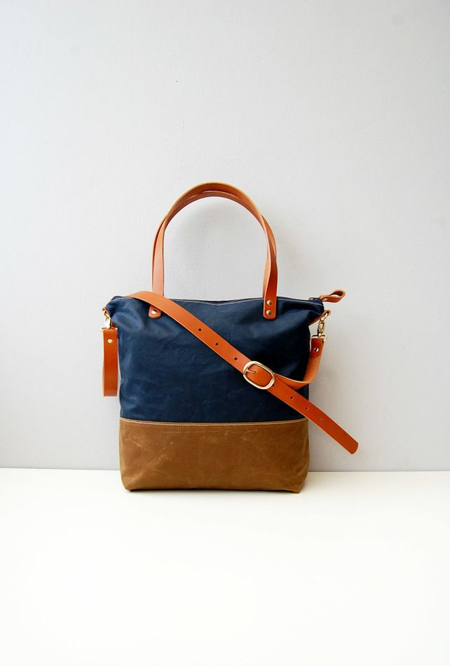 Navy waxed canvas tote bag with zip, leather handles and crossbody ...