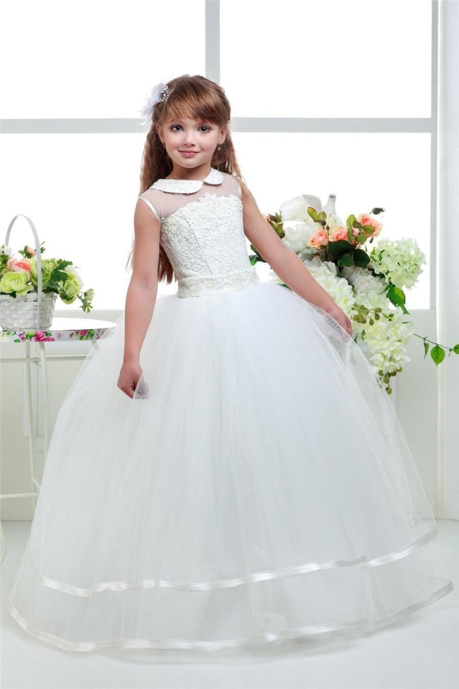 2018 Princess Flower Girls Dresses For Weddings Kids First Communion Dress