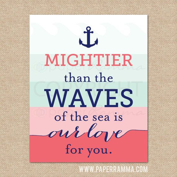 Nautical Nursery Print, Ombre Quote Print // Love... Mightier than the waves // Nautical Art Print for Nursery / Child's Room//N-X04-1PS AA1 #childroom