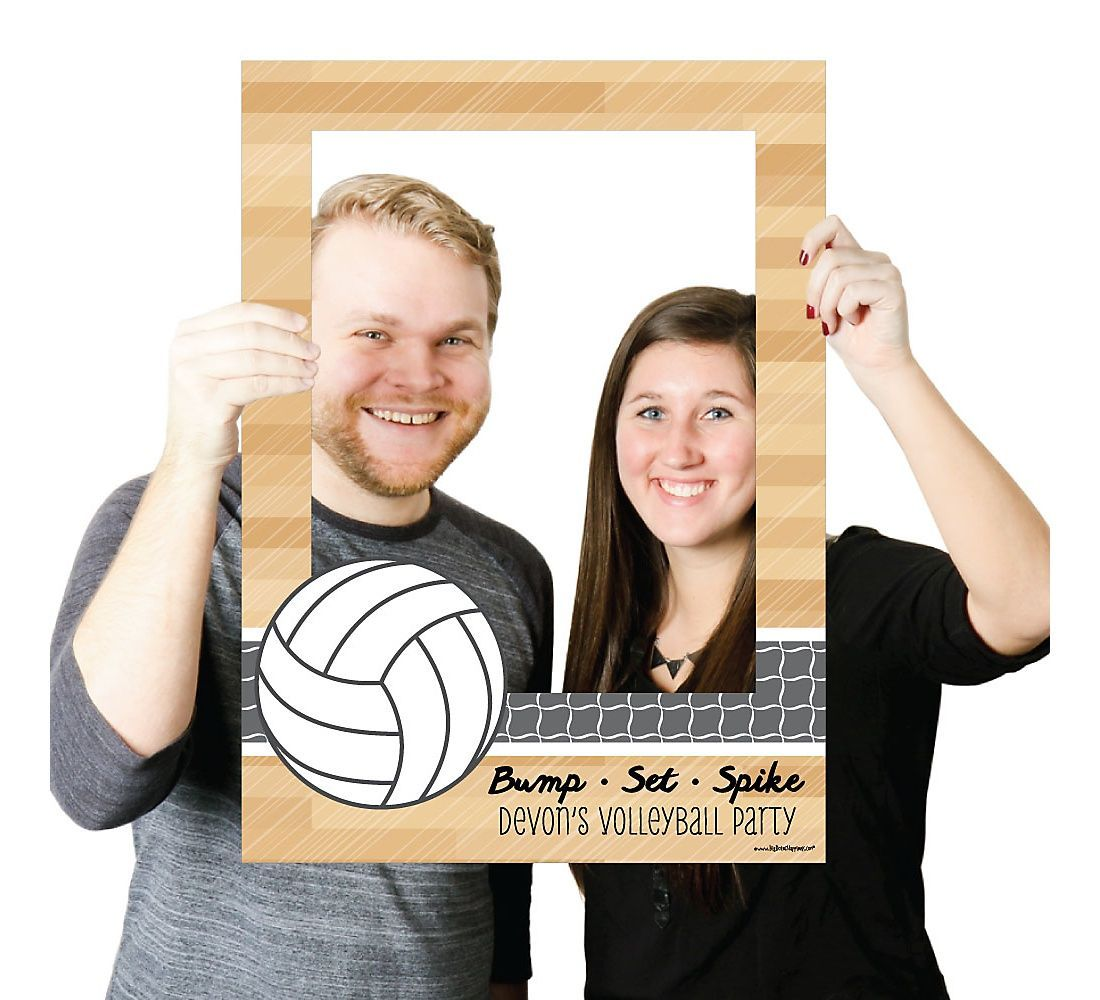 Bump Set Spike Volleyball Personalized Birthday Party Or Baby Shower Selfie Photo Booth Picture Frame Props Printed On Sturdy Material In 2020 Photo Booth Picture Frames Photobooth Pictures Photo Booth