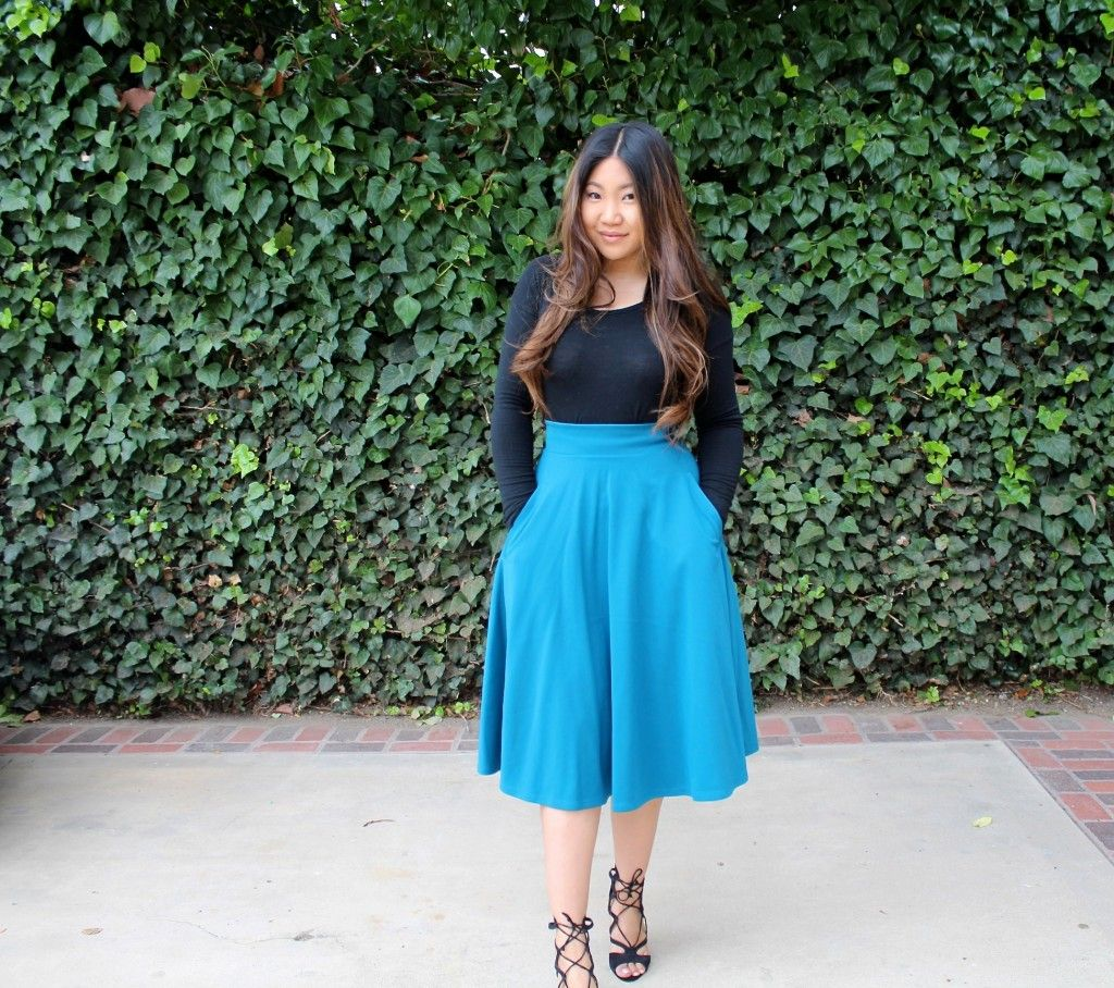 Teal Skater Skirt - Tia Alese Wong | Sunday Best | Church Outfit | Modest Outfit |
