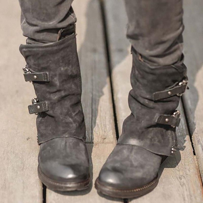 c795ec88e9 Womens Vintage Buckle Side Zipper Boots in 2019 | Boots | Boots ...