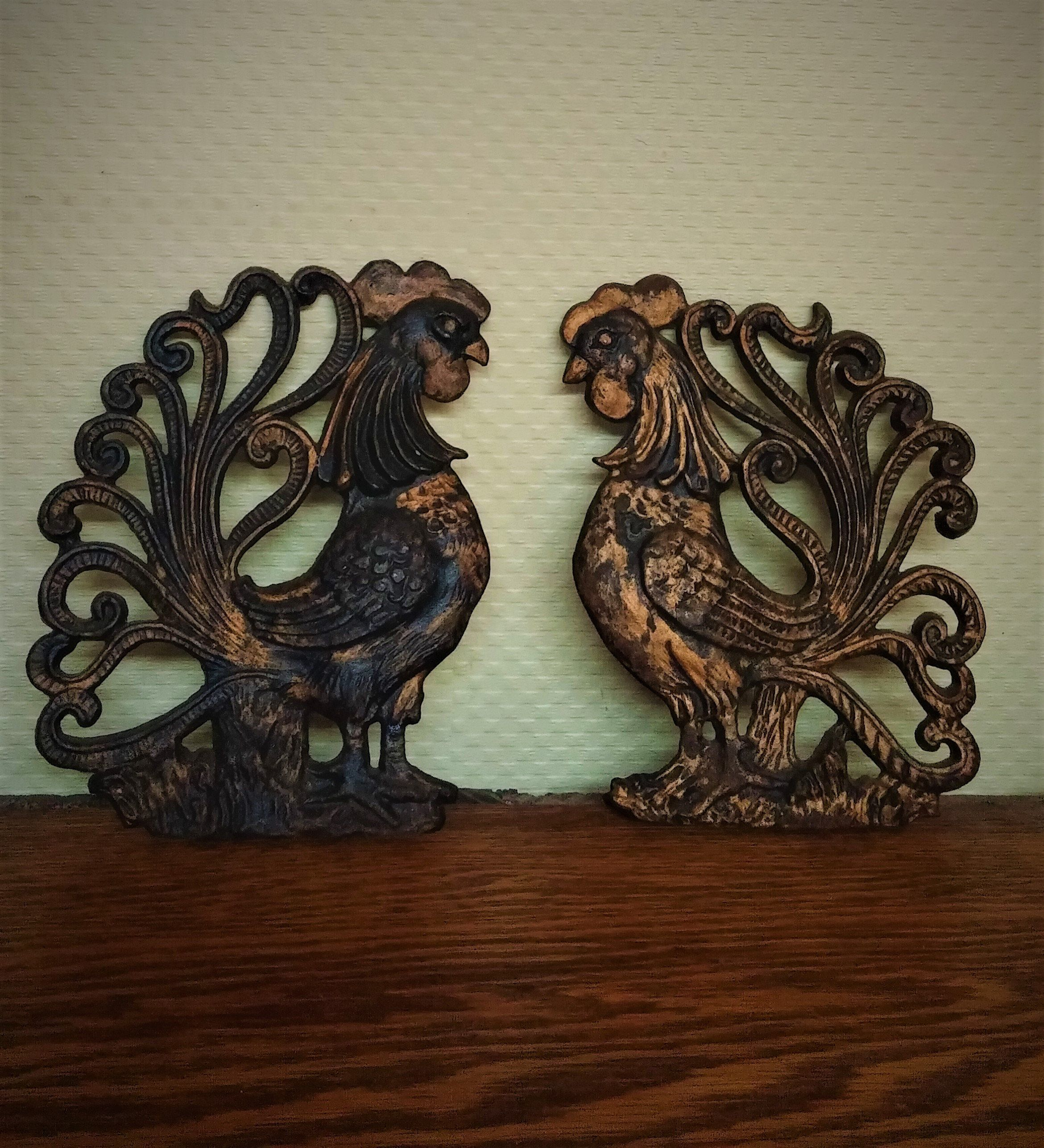 Pair Roosters Wall Hanging Decor Cast Iron Roosters Kitchen