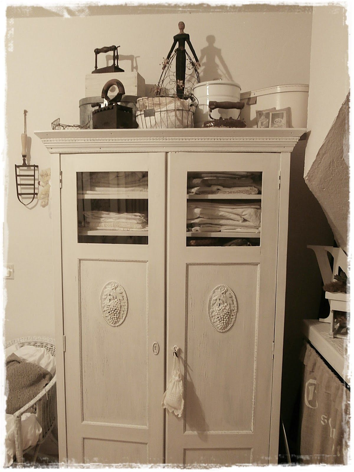 Rustic Chic Bathroom Decor bathroom iron room laundry linen closet whitewashed chippy shabby