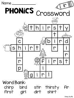 er ir ur worksheets activities no prep literacy worksheets crossword puzzles crossword. Black Bedroom Furniture Sets. Home Design Ideas