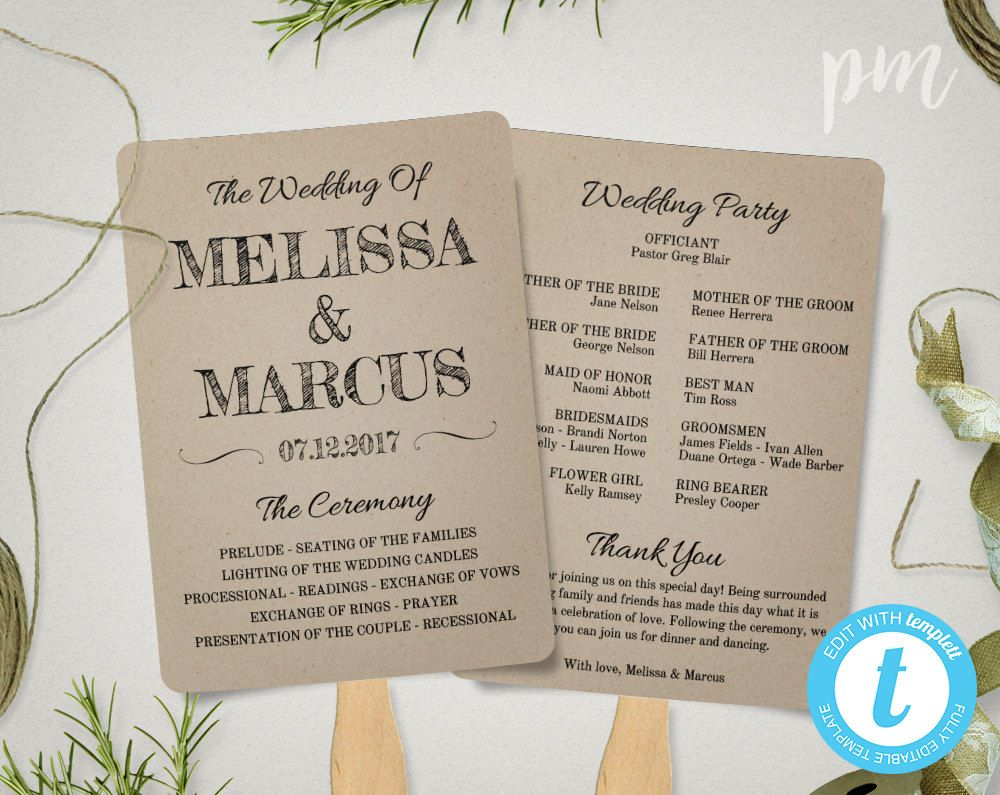 Rustic Wedding Program Fan Template Fan Wedding Program  Wedding