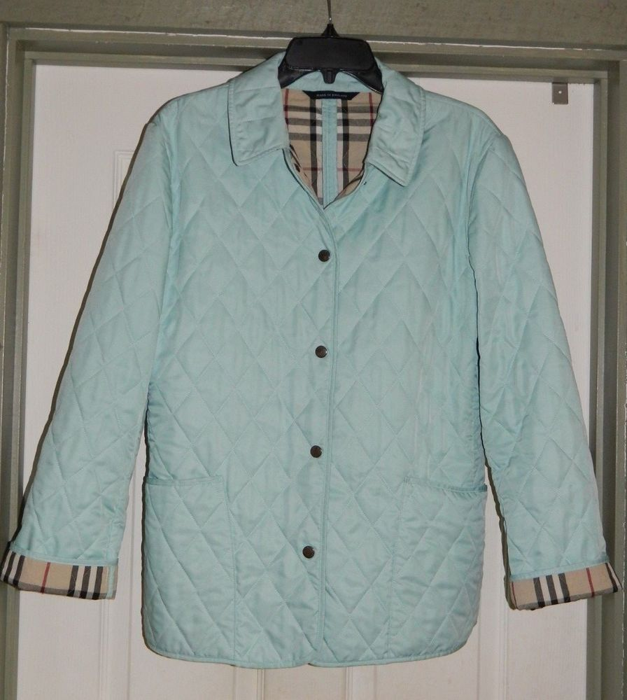 Burberry Light Blue Nova Check Classic Quilted Jacket Women S Large Womens Quilted Jacket Quilted Jacket Vest Jacket