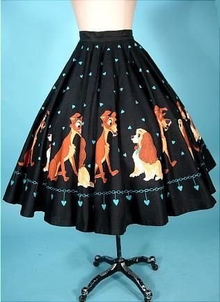 cf2ecd9d20a73 1950's Disney's LADY & the TRAMP Black Cotton Print Circle Skirt - my  gosh--oh my fav lady and the tramp!