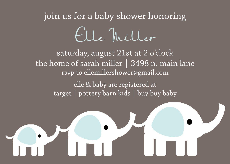 Elle Custom Elephant Baby Shower Invitation PRINTABLE INVITATION