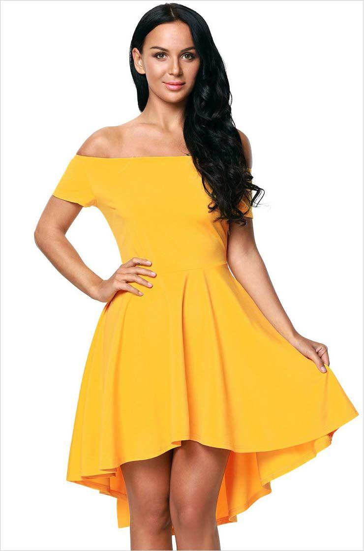 Yellow short front long back off the shoulder mini dress