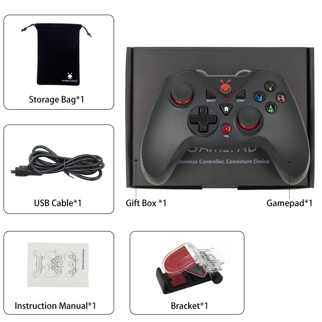 IMECOO Bluetooth Wireless Gamepad Gaming Controller with Bracket for