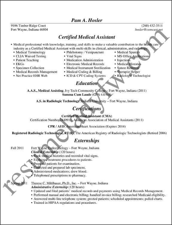 resume samples free download medical assistant sample resumes and sample of medical assistant resume - Medical Assistant Resumes Templates