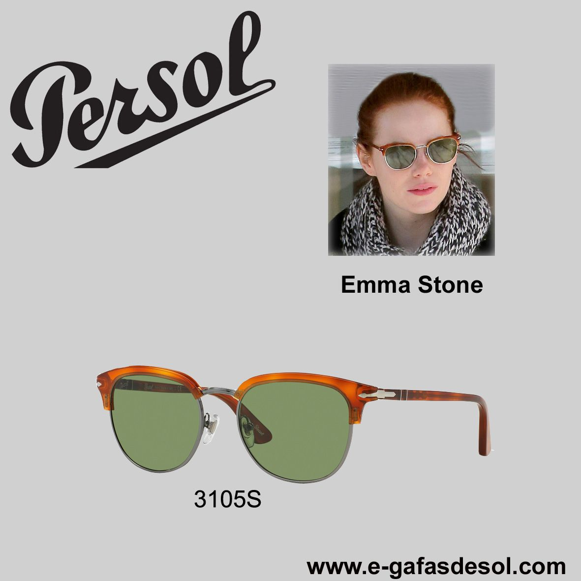 de043e09c1 La actriz Emma Stone con unas gafas PERSOL 3105S. The actress Emma Stone  wearing a PERSOL 3105S sunglasses.