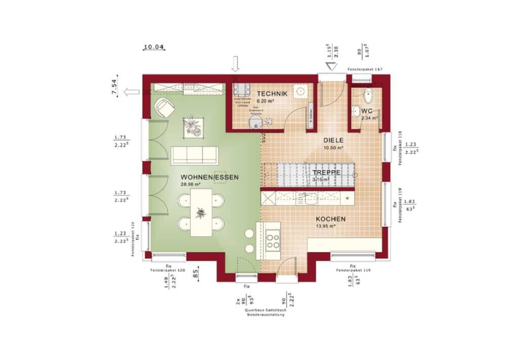Einfamilienhaus Grundriss EG modern mit offener Küche und Kochinsel ...