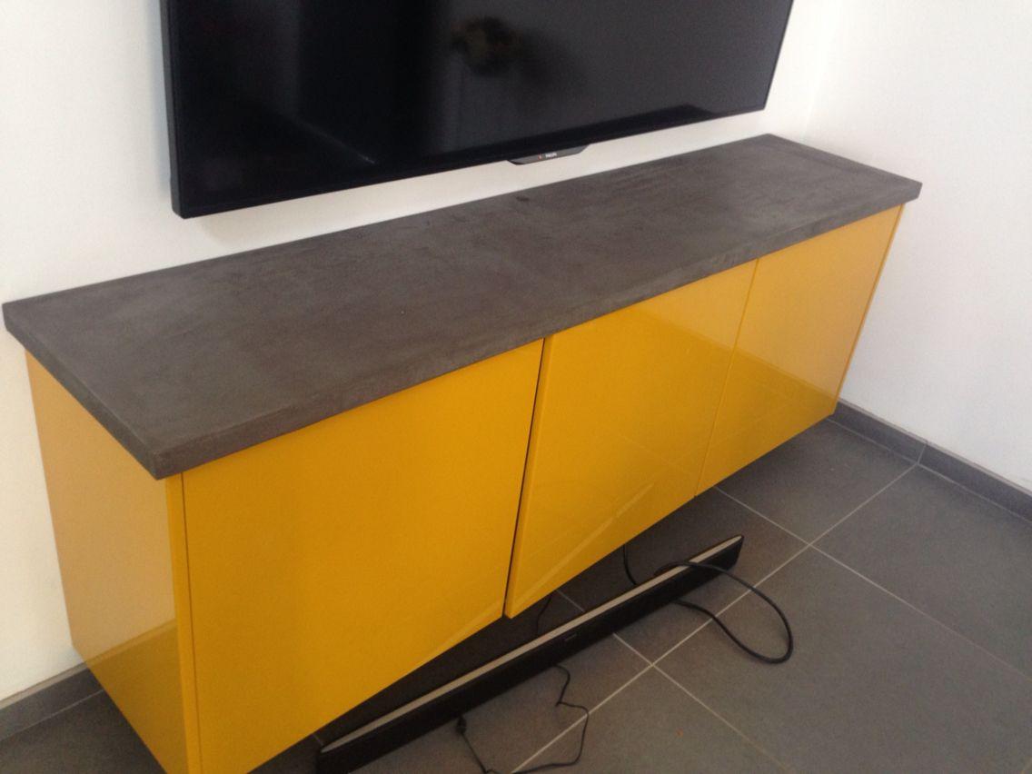 Meuble En Béton Ciré diy tablette pour meuble tv en béton ciré | meuble, meuble