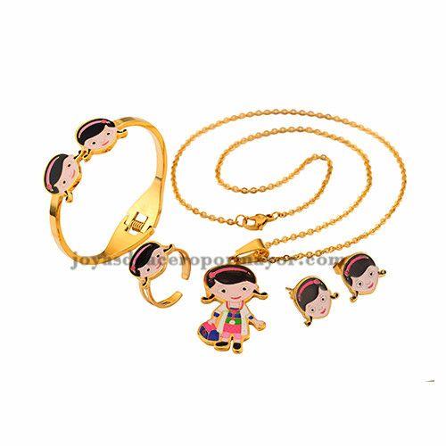 Collares de dibujos animados con aretes anillo y pulersa para