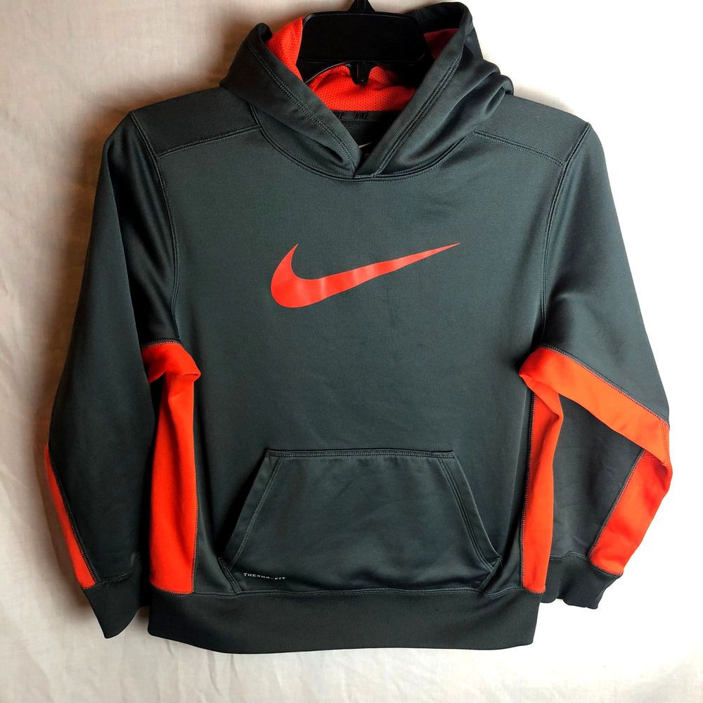 7112a4b3e5ac Nike Therma-Fit Knockout Hoodie Boys Large Pullover Sweatshirt Gray Red   Nike  Hoodie