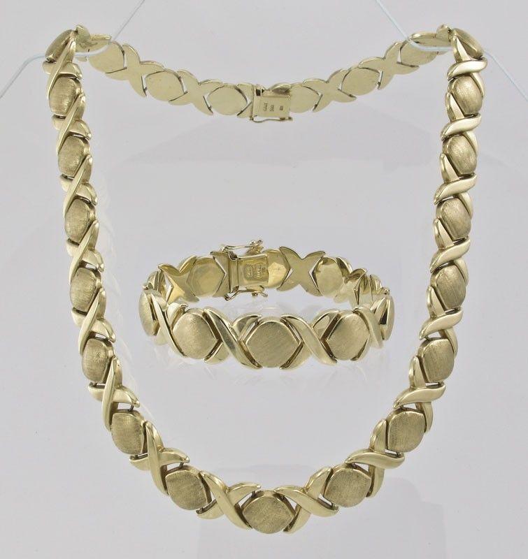 275 14k Gold Hugs Kisses Necklace Bracelet 65 7 Gr Womens Ankle Bracelets Xoxo Necklace Gold Bracelet For Women