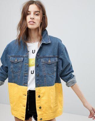 La veste en jean coloré La veste en jean coloré bruyant peut color block Jack Jack ... #jeanjacketoutfits