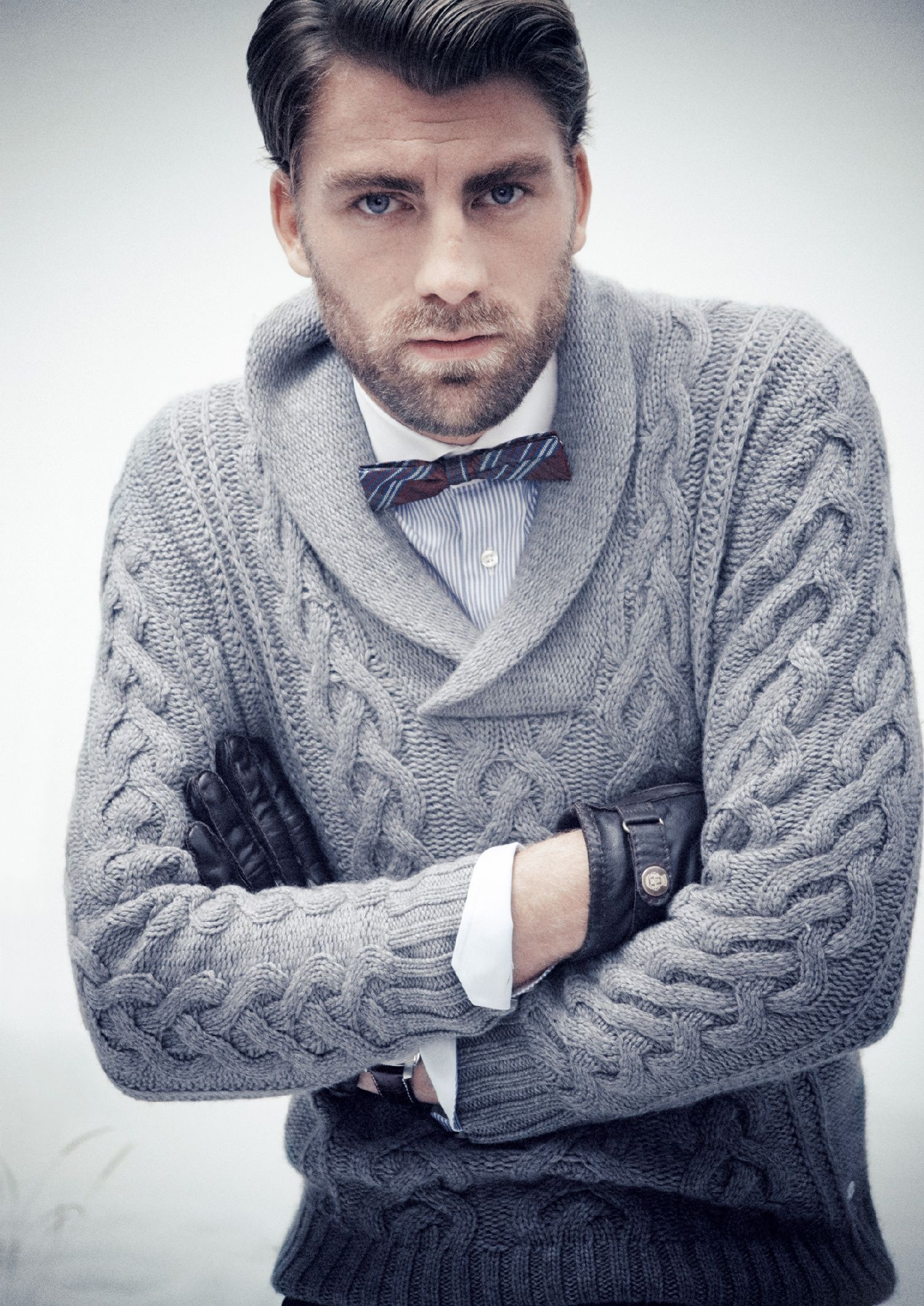 d20390fa60a Calle Strand in a cowl neck sweater   bow tie. These are a few of my  favorite things