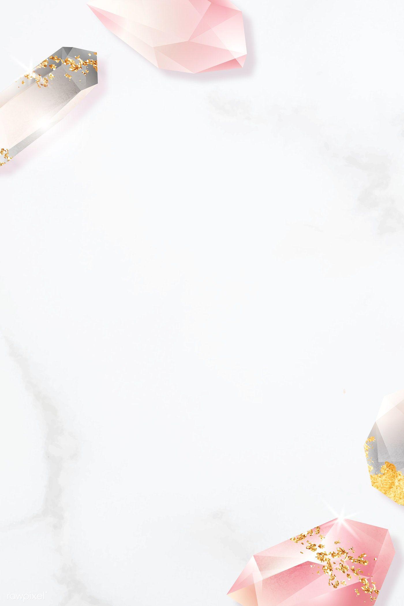 Download Premium Vector Of Colorful Crystal Frame Design On Marble Frame Design Flower Background Wallpaper Crystals