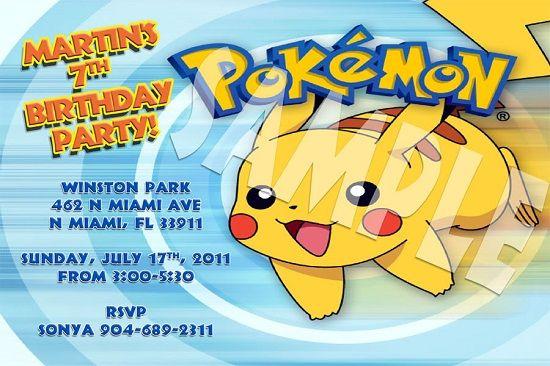 Pokemon Birthday Invitations Ideas For Joseph Invitation Ideas