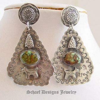 Turquoise & Sterling Silver Arrowhead Large POST Earrings | Schaef Designs | New Mexico