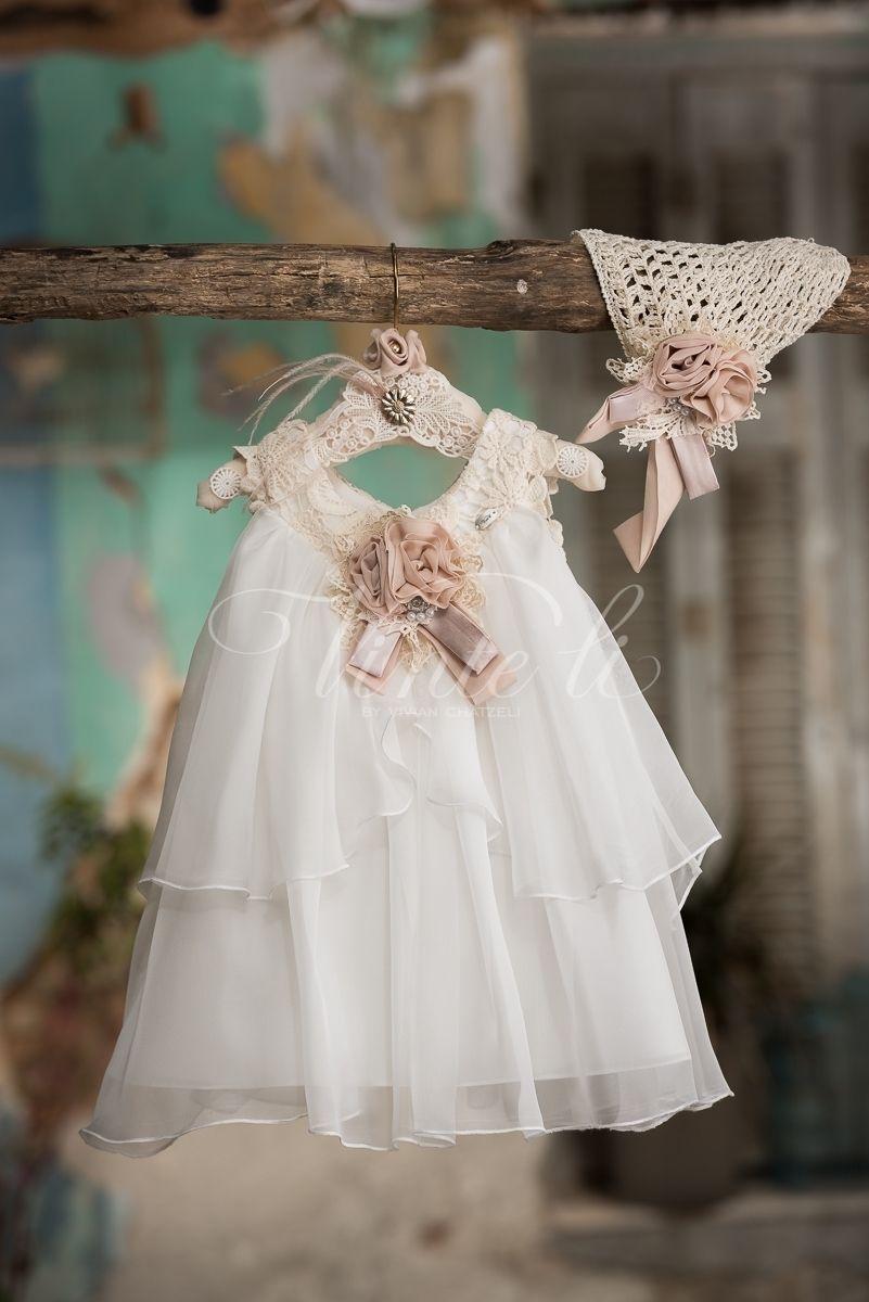 a2229fd7402 Καλοκαιρινό φόρεμα βάπτισης Vinte Li 2722 με σκουφάκι, annassecret,  Χειροποιητες μπομπονιερες γαμου, Χειροποιητες