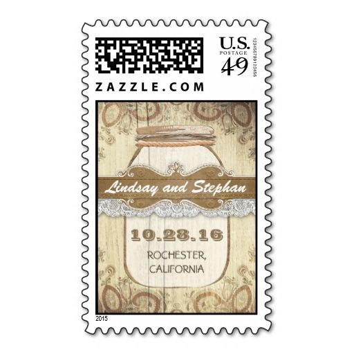 country rustic mason jar wedding postage stamp