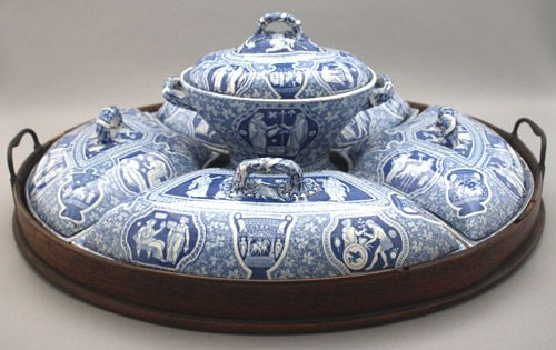 ca 1815 The Spode Collection early blue and white wares Spode supper set printed in Greek pattern in oval mahogany tray. & The Spode Collection - Early Blue and White Wares. Spode Supper Set ...