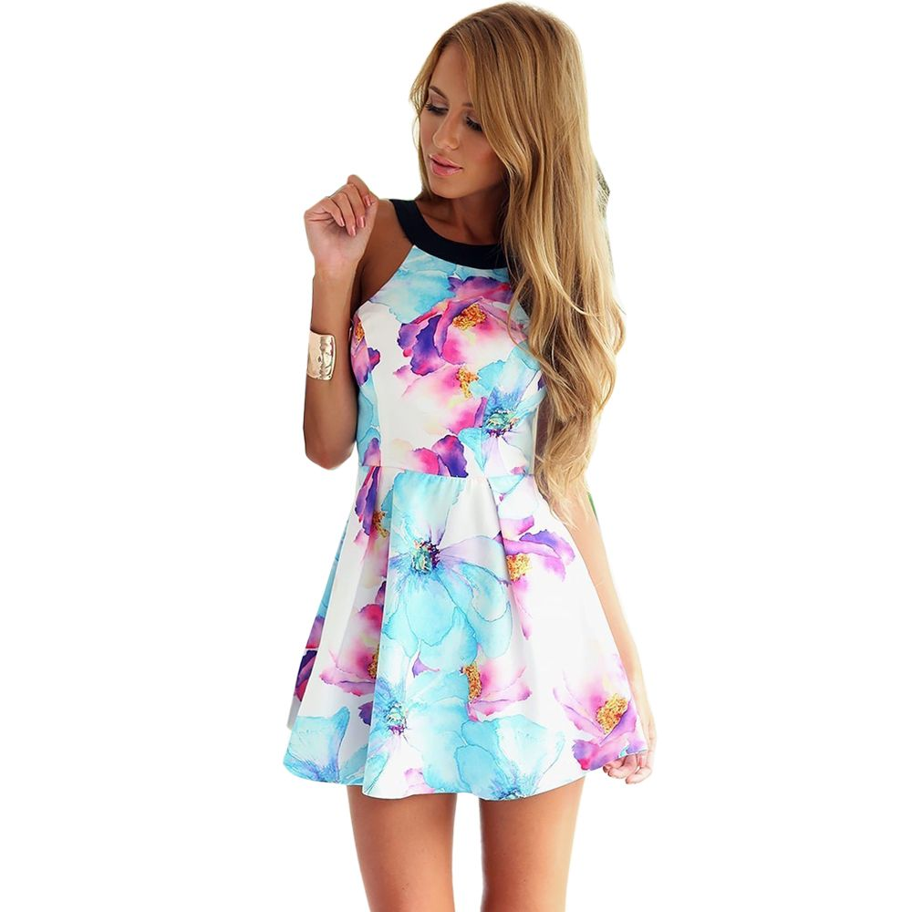Flower Print Backless Mini Tank Dress | Fashion.. | Pinterest