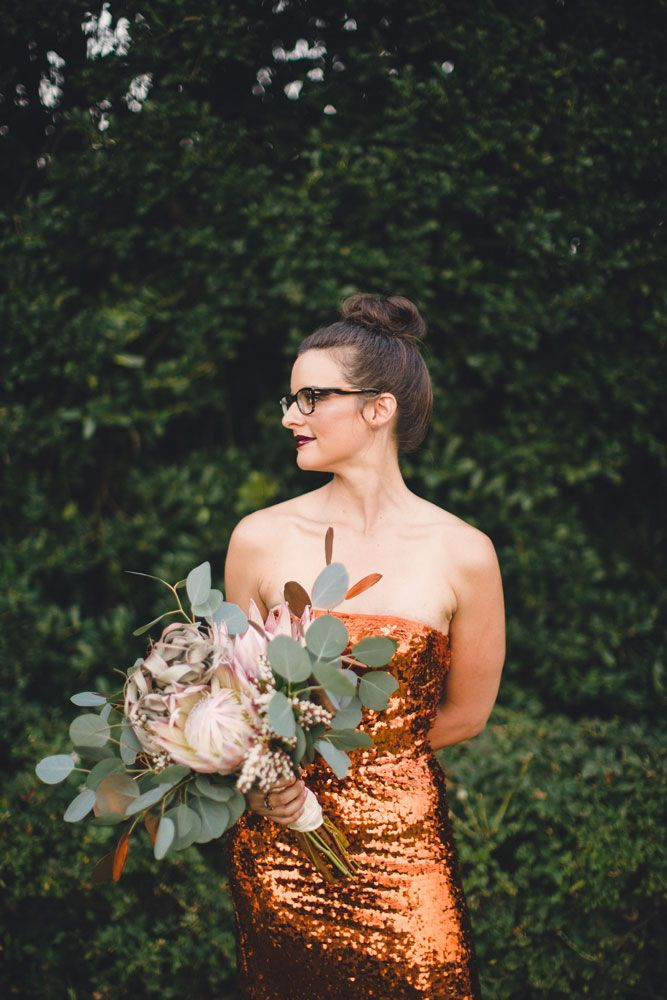 Modern bride in a copper gown. Photo by Josh McCullock Photography. www.wedsociety.com #wedding #beauty