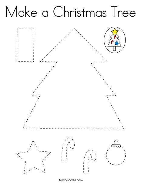 Make a Christmas Tree Coloring Page - Twisty Noodle (With ...