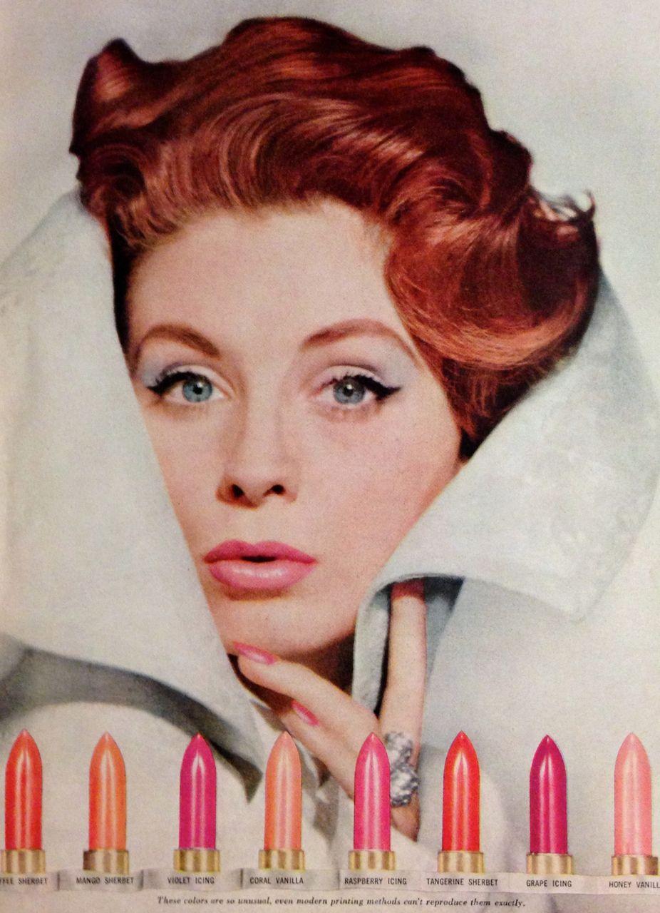 """Revlon """"Colors Unlimited"""" Lipstick Ad detail, 1959"""