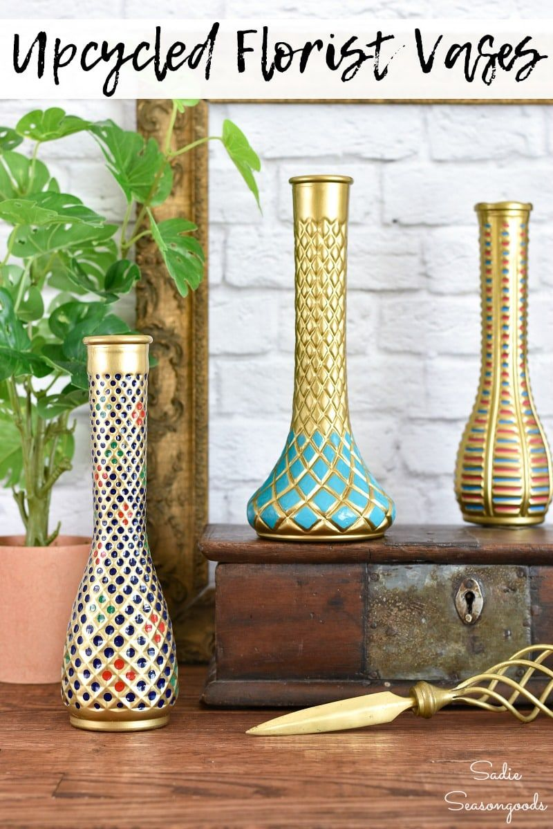 A Cloisonne vase is about as classic and timeless as it gets in traditional decor. But the real thing can be expensive, rare, and hard to find. With some florist vases from the thrift store, though, you can recreate an inspired vase that has the look of Cloisonne without the pricetag! #thriftstoremakeover #floristvases #Cloisonne #classicdecor #thriftstoredecor #upcycling #paintingglass #paintedglass #Cloisonnevase #traditionaldecor #vintagedecor