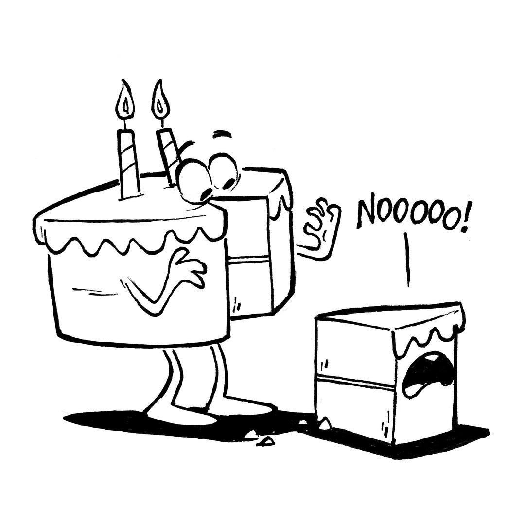Sketch Doodle Drawing Ink Birthday Cake Slice Cakeproblems Dailies