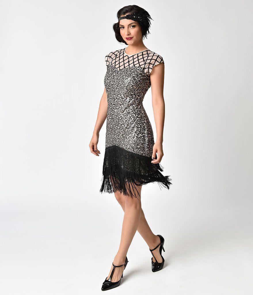 d59eecc167d6 Unique Vintage 1920s Champagne   Black Sequin Fringe Del Mar Flapper Dress