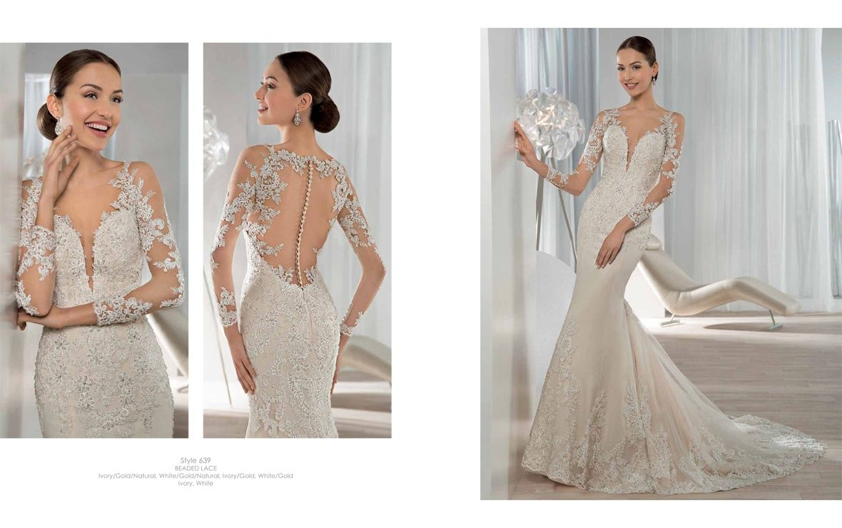 This shimmering beaded lace fit n flare gown features a scoop ...