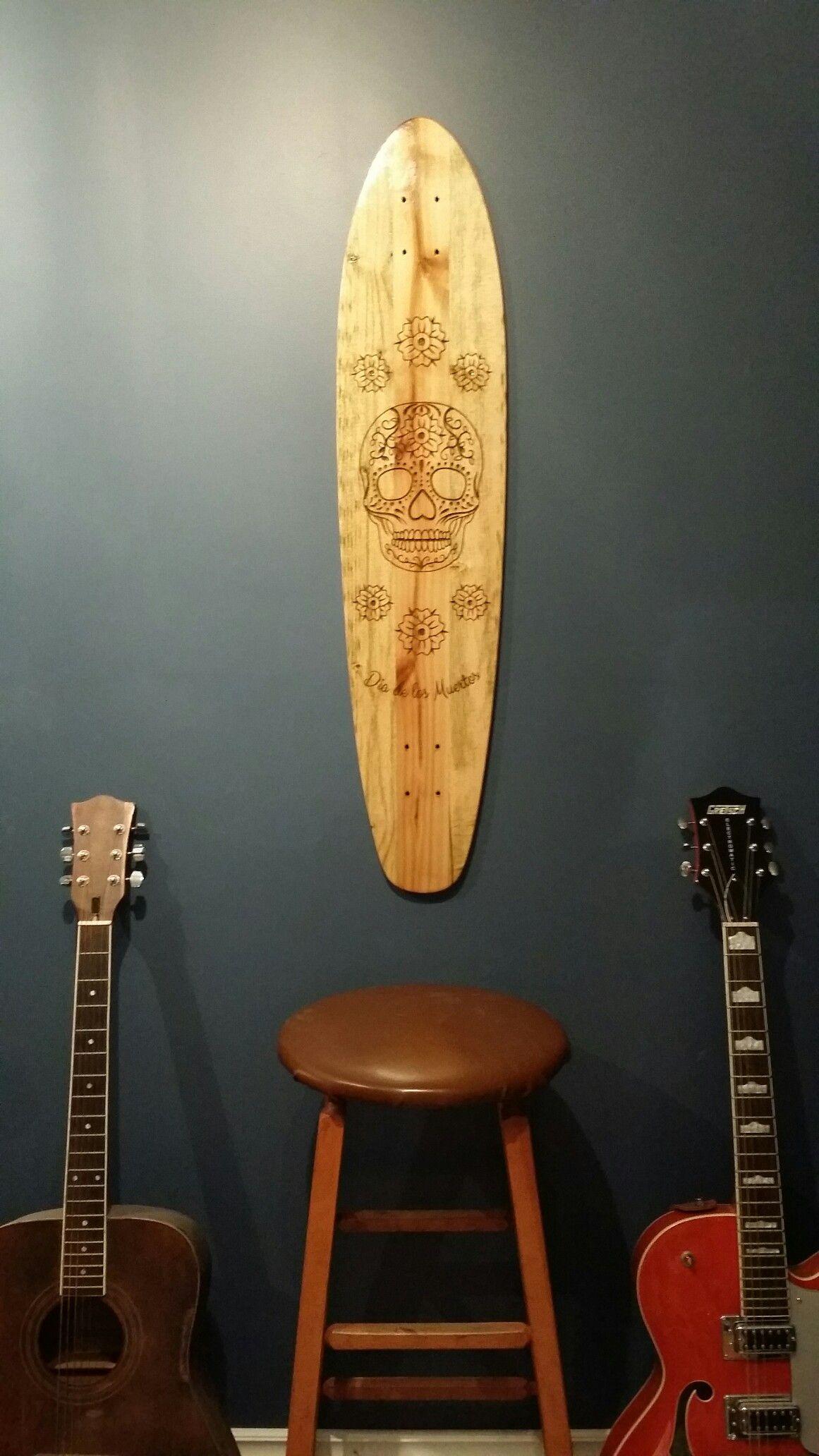 Skinner custom longboards wall art engraved day of the dead
