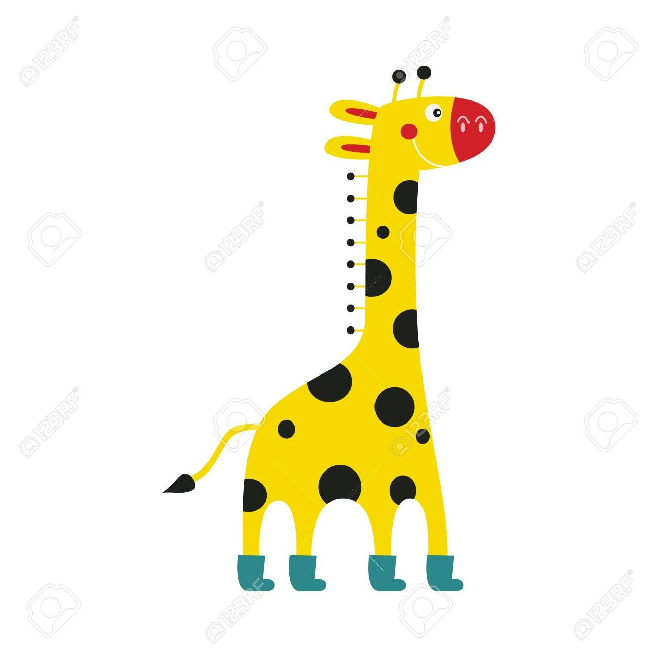 Giraffe Cartoon Character In Funny Boots Stands Smiling Isolated On White Background Side View Of Cute Comic Yellow Africa African Animals Cute Comics Giraffe